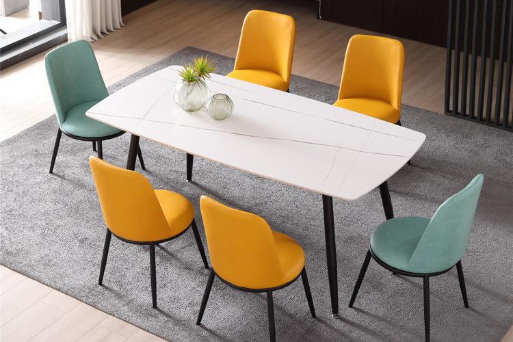 意式极简风格岩板餐桌椅组合批发03