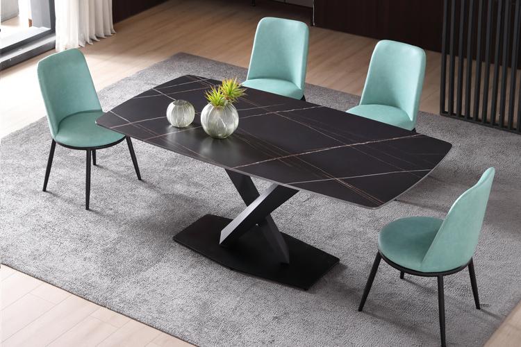 意式极简风格岩板餐桌椅组合批发04